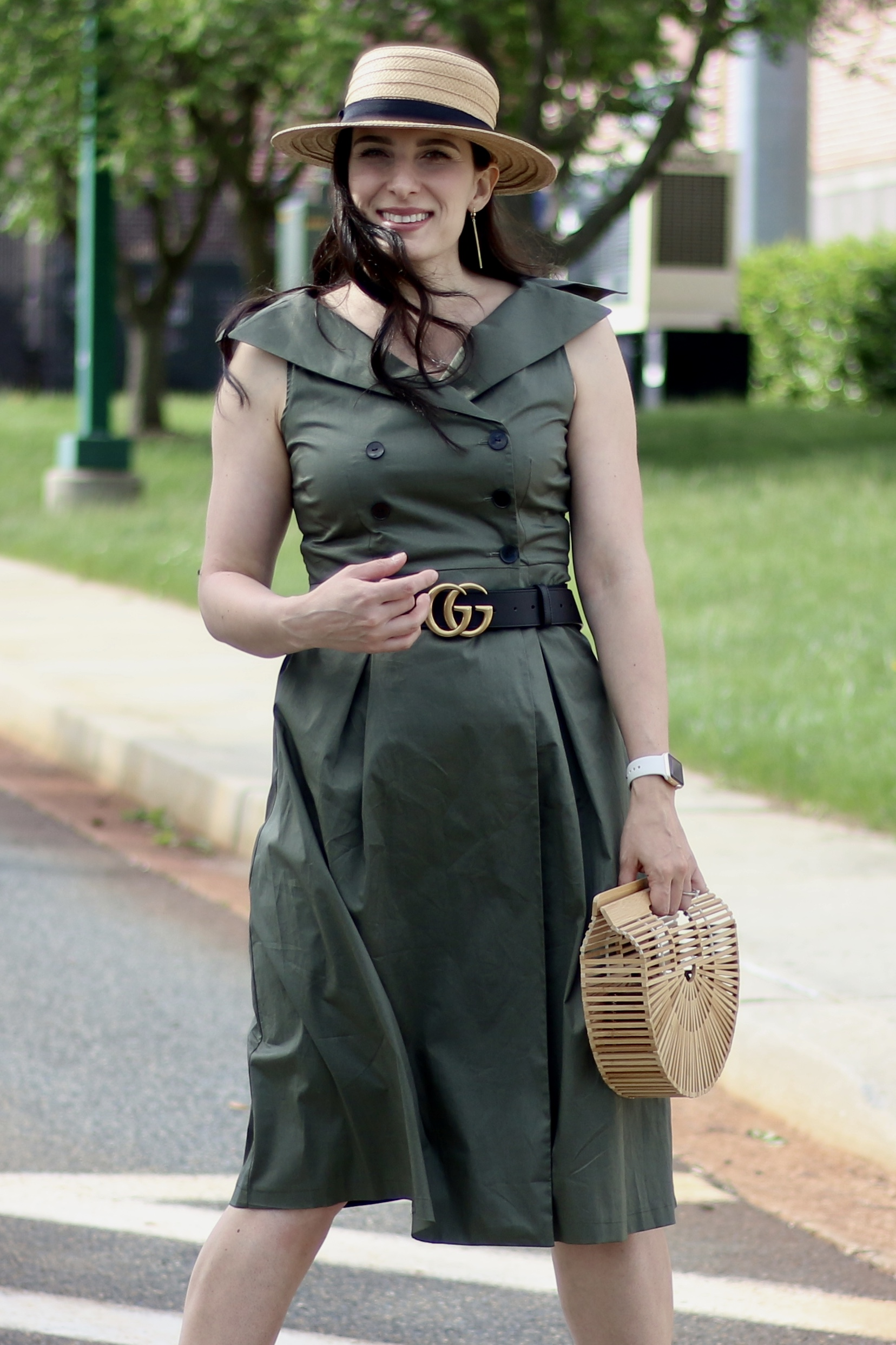 Trench Coat Dress, Boater Hat, Cult Gaia Arc Bag, Gucci Belt