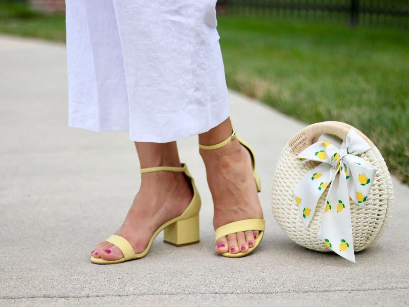 Anthropologie Smocked Shirt, Steve Madden Yellow Sandals, Lemon Print Scarf