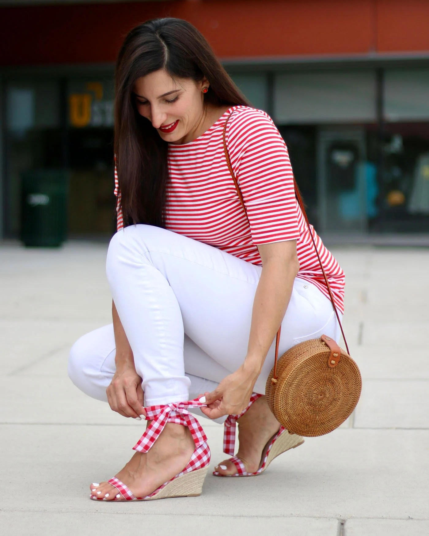 Betsey Johnson Red Gingham Sandals, Round Bamboo Bag