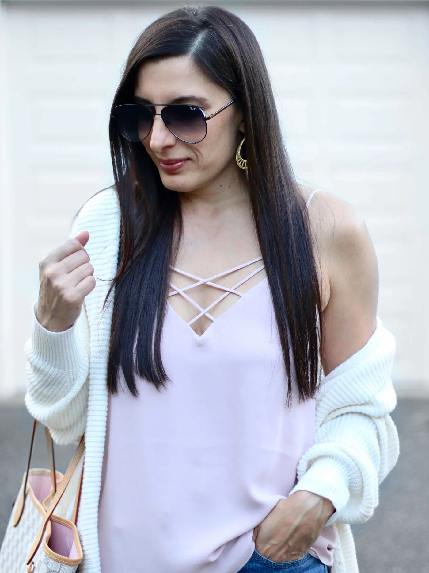 LOFT Cardigan, Express Strappy Cami, Levi's Jeans, Louis Vuitton Neverfull