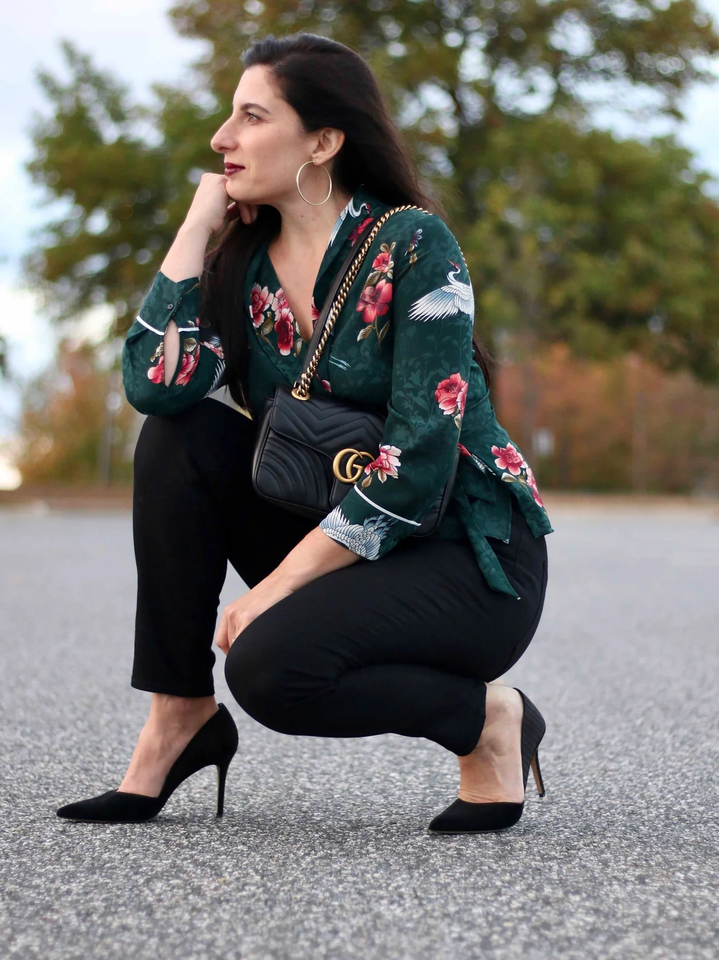 Zara crane wrap blouse, LOFT sailor button jeans, Gucci Marmont Bag, Vince Camuto D'Orsay Pumps