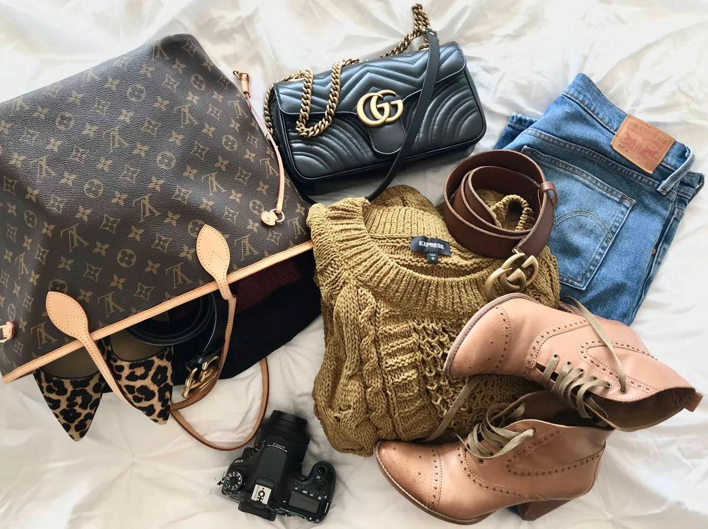 Express Cable Knit Chenille Sweater, Levi's 501, Gucci Belt, Gucci Marmont Bag, Louis Vuitton Neverfull