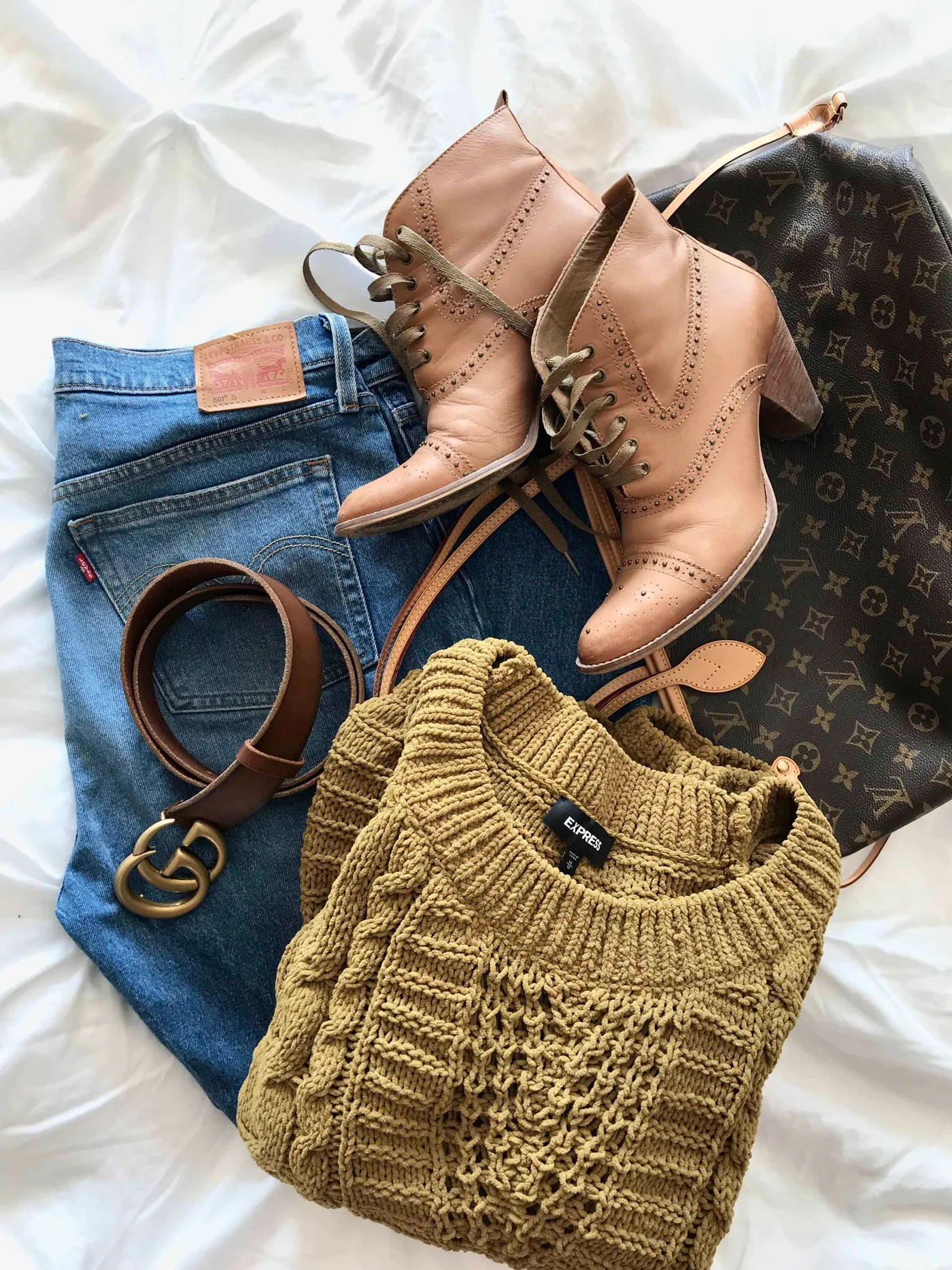 Express Cable Knit Chenille Sweater, Levi's 501, Gucci Belt