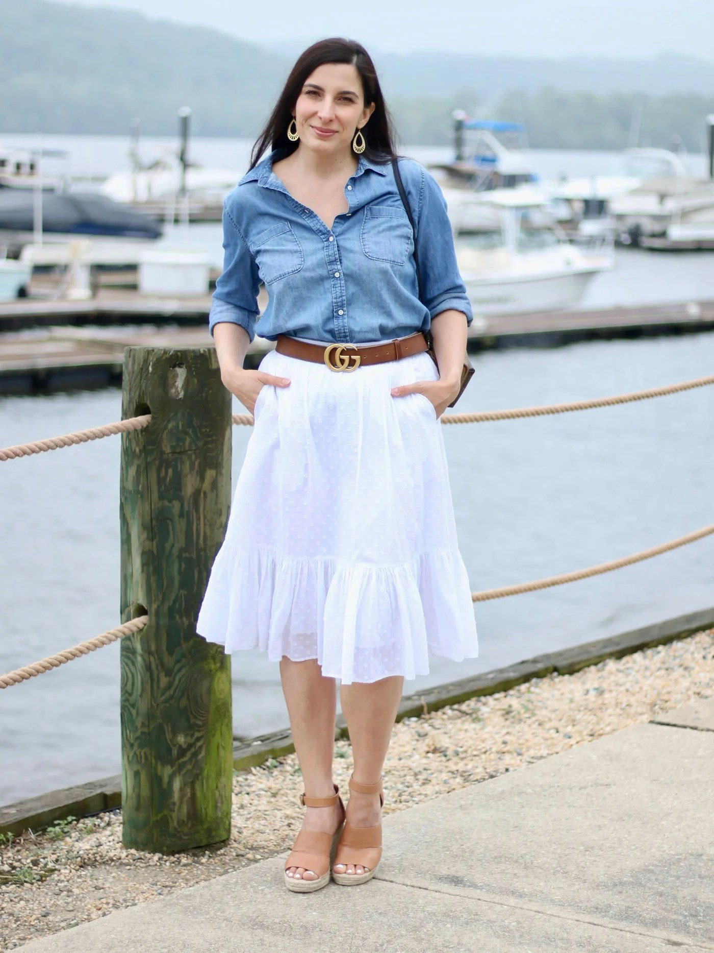 Chambray Shirt And White Skirt Classic Wardrobe Pieces