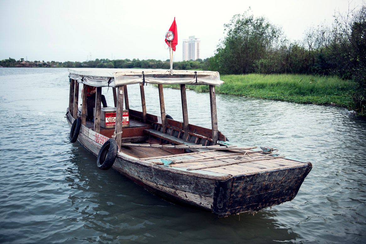 Taxi boat belonging to a riverside restaurant in Ho Chi Minh City, Vietnam