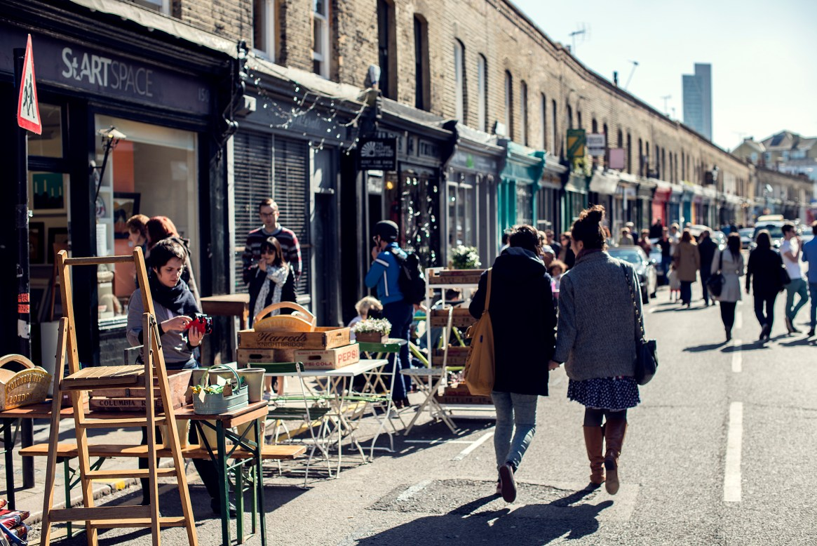 Antique stalls and people on Columbia Road, Hackney, London