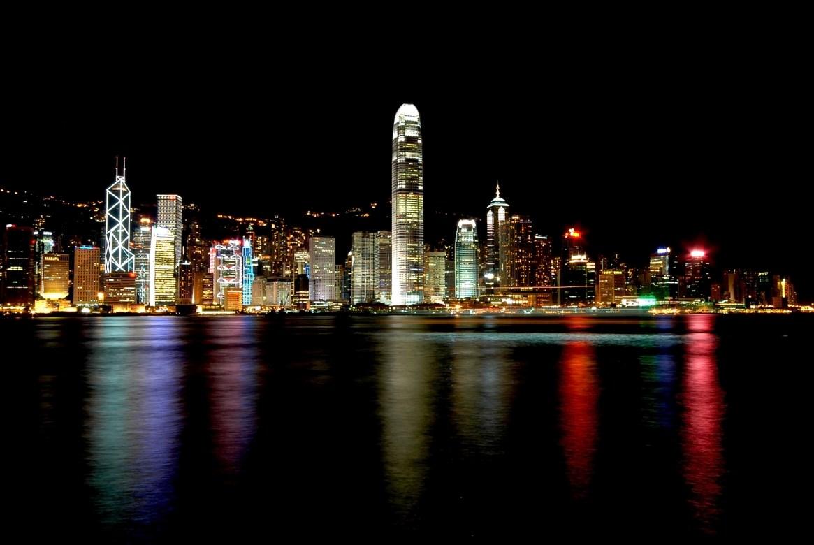Hong Kong Island at night, viewed from Kowloon