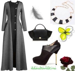 Outfit cu Pardesiu lung stil militar cu botine si geanta