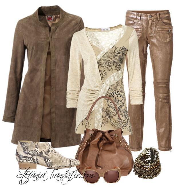 Jacheta din piele lunga cu pantaloni stil biker - Outfit cu haine de la quick 24