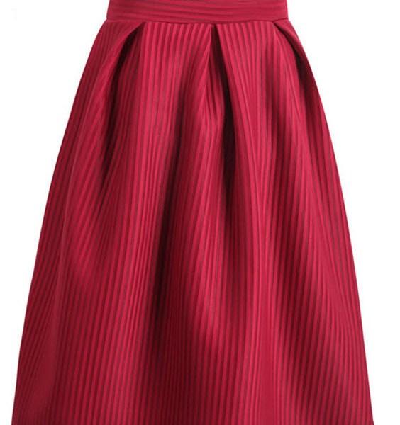 Casual Elegant Wine Red Bow Vertical Stripe Mid Skirt