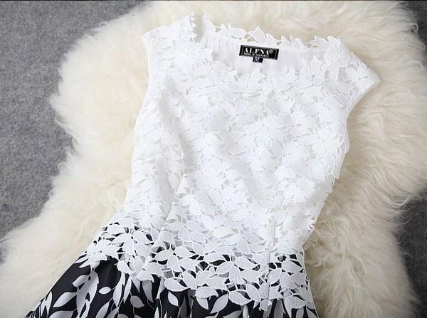 detaliu - rochie seara din dantela aplica in alb si negru