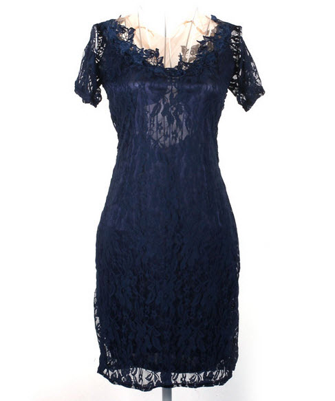 rochie din dantela bleumarin cu mesa