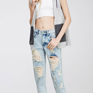 Blugi rupti dama distrusi - Forever21 Distressed Boyfriend Jeans