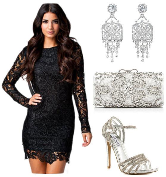 cum sa asortezi rochii negre din dantela cu accesorii argintii