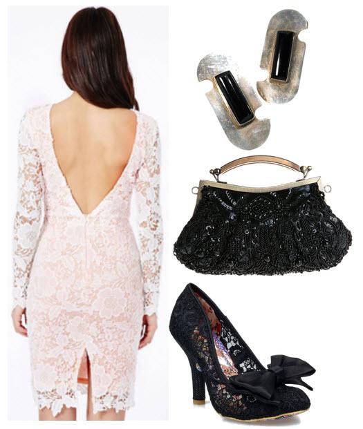 outfit vintage cu rochie din dantela alba