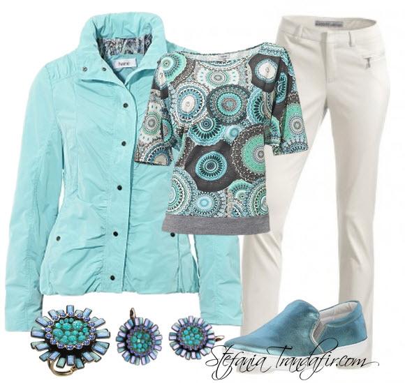 Outfit cu jacheta scurta aqua si bluza cu imprimeu allover