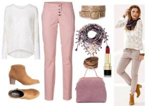 Outfit cu bluza din dantela cu maneci lungi si pantaloni strech