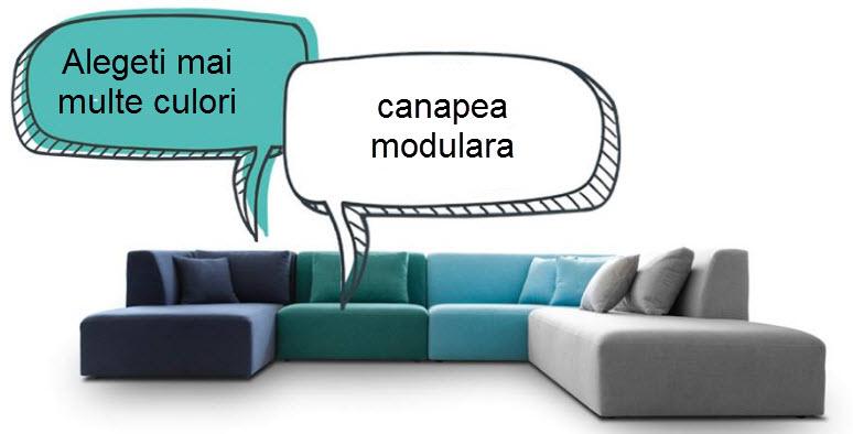 canapea modulara din materiale diverse si nuante diverse