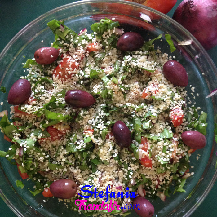 salata de rosii cu macris ceapa rosie mascline seminte de canepa