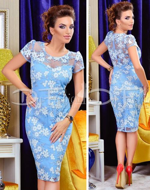 rochii fashion croiala creion din dantela bleu