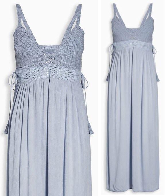 Rochie maxi albastru azur cu detaliu crosetat