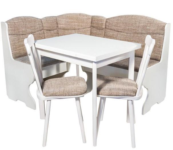 Coltar bucatarie Parma Alb Elvila, cu masa extensibila si 2 scaune
