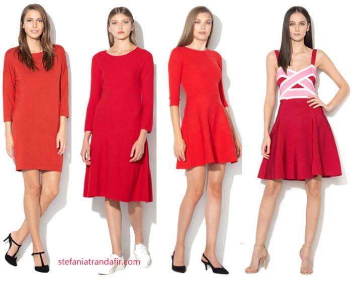 rochii rosii din tricot fin