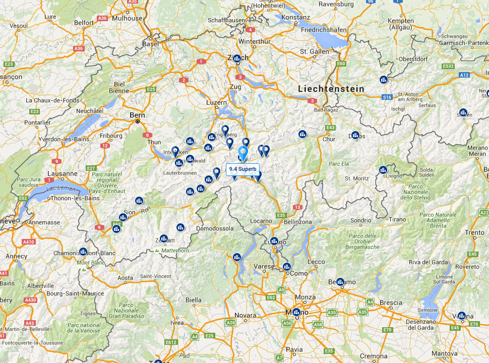 localizare pe harta a hotelului chedi andermatt