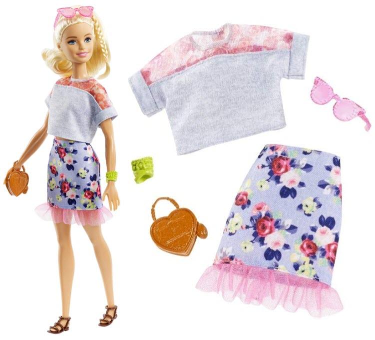 Barbie cu fusta cu print floral si volan roz