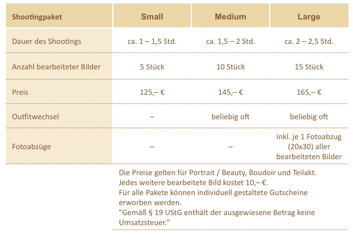 Preisübersicht (11.15)