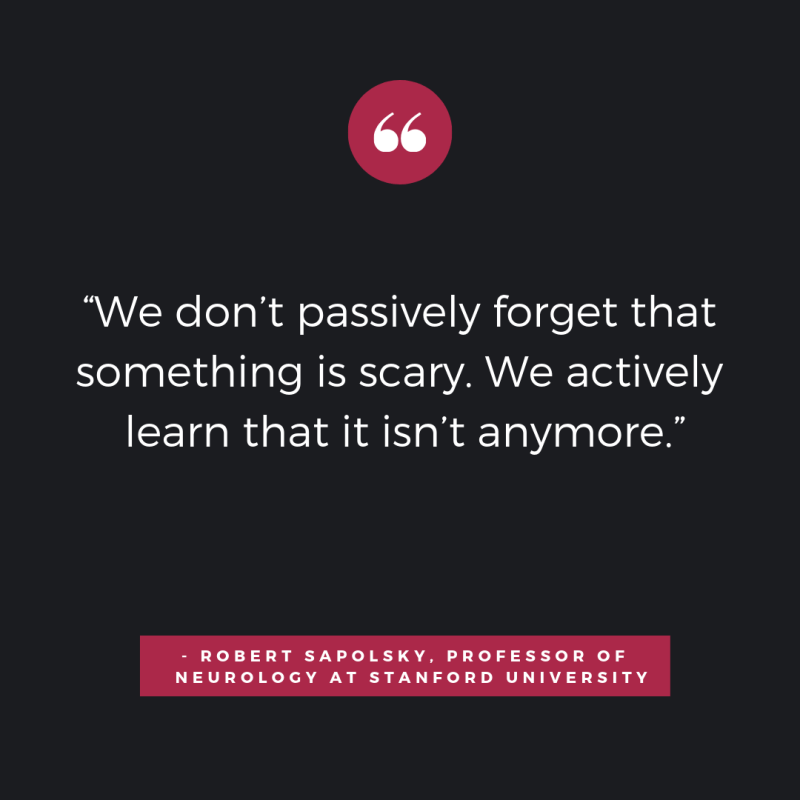 """""""We don't passively forget that something is scary. We actively learn that it isn't anymore."""" - Robert Sapolsky,"""