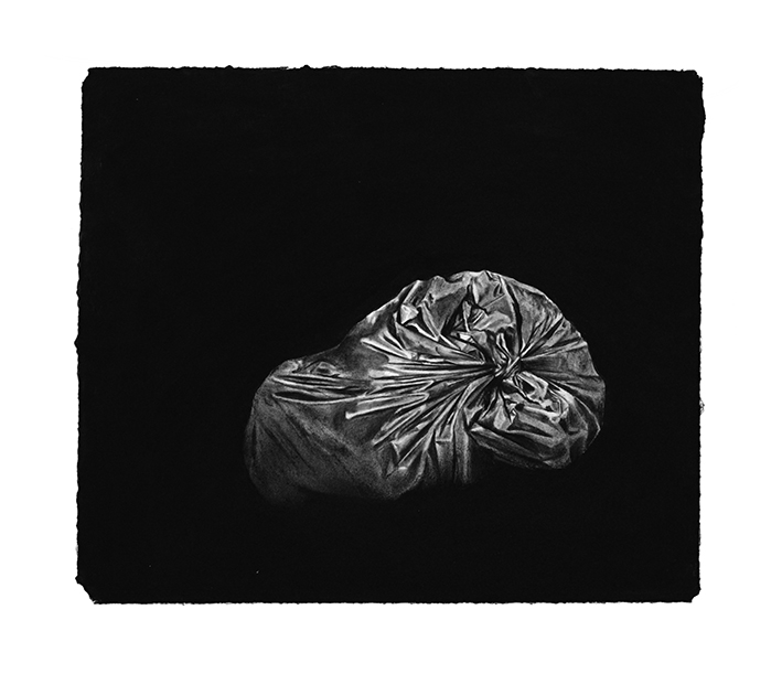 """trash"" 2015, charcoal drawing, 31 x 36 cm"