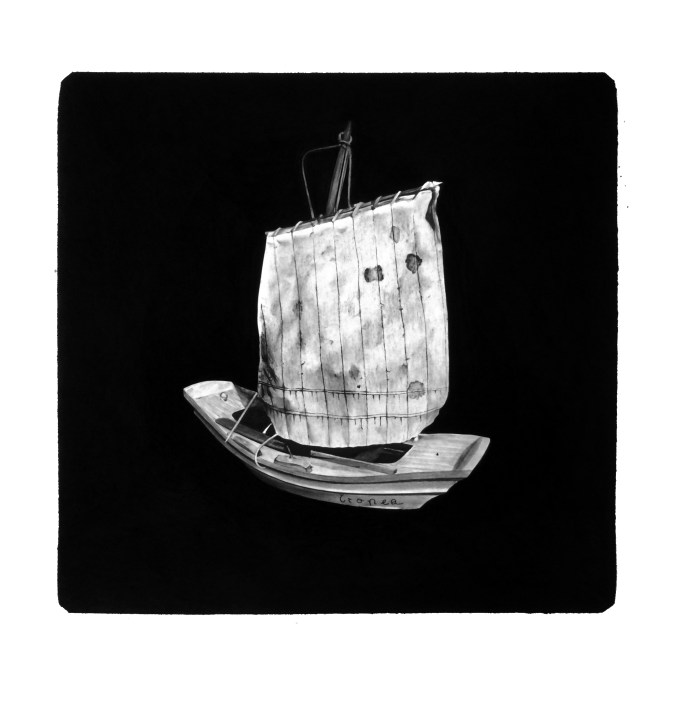 Seile und Segel, Charcoal Drawing 100 x 100 xm
