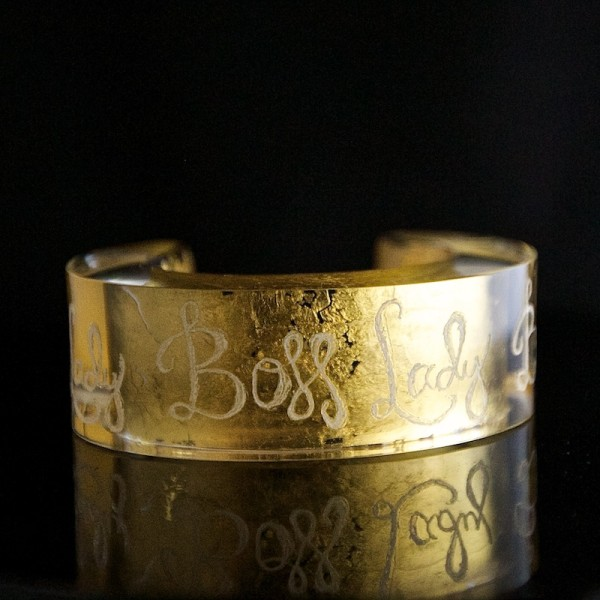 Boss Lady Bespoke gold and acrylic cuff 15