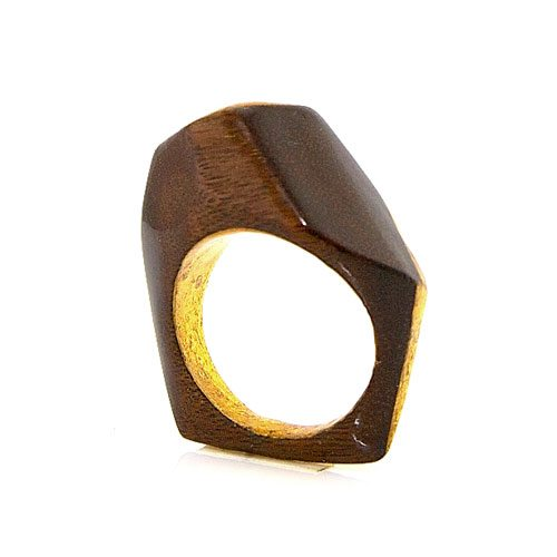 I Thought You'd Never Ask Rosewood and Gold Ring
