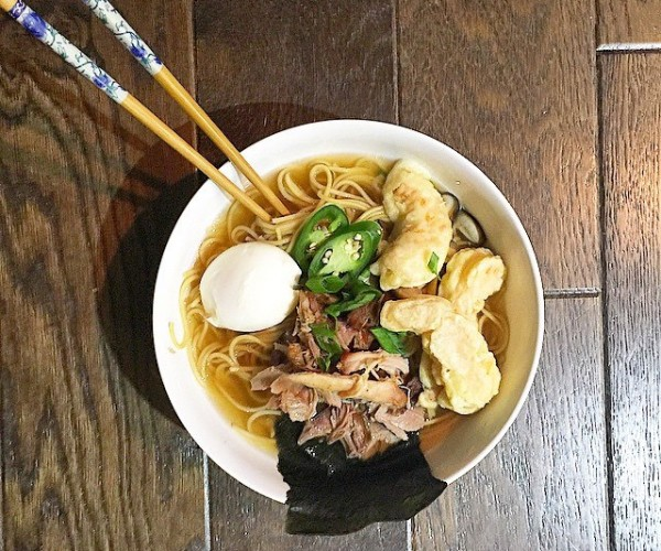 Momofuku-inspired pork ramen with shrimp tempura