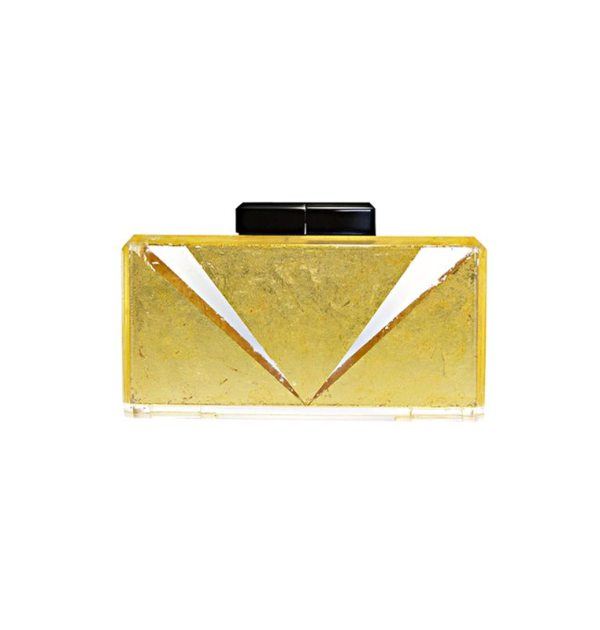 The Main Act Clear Lucite Clutch with precious metal V detail