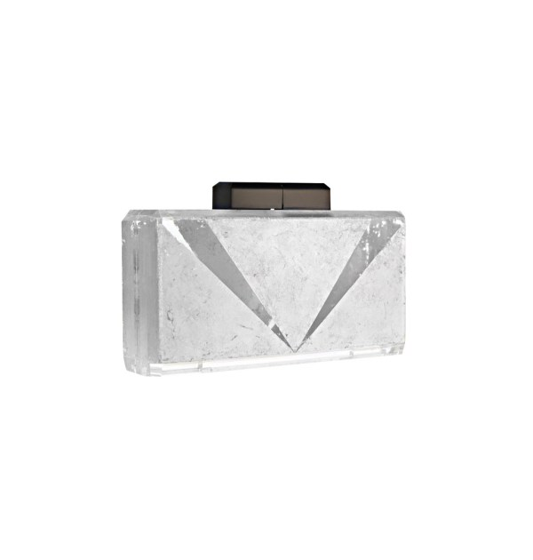 The Main Act V-Detail Platinum Silver and Lucite Clutch