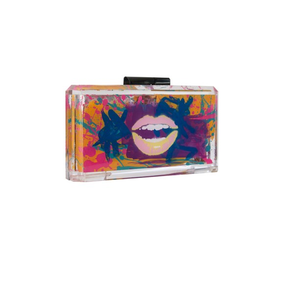 Read My Lips Hand Painted Graffiti Bag Accrylic Clutch