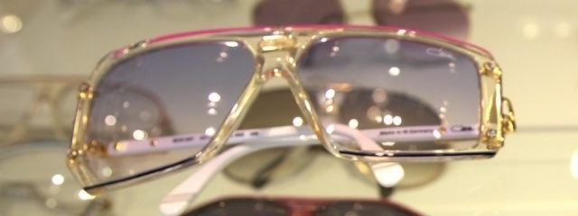 Mr.'s newfound obsession: Mod 867 Cazal's with transparent and pink frames and blue gradient lenses