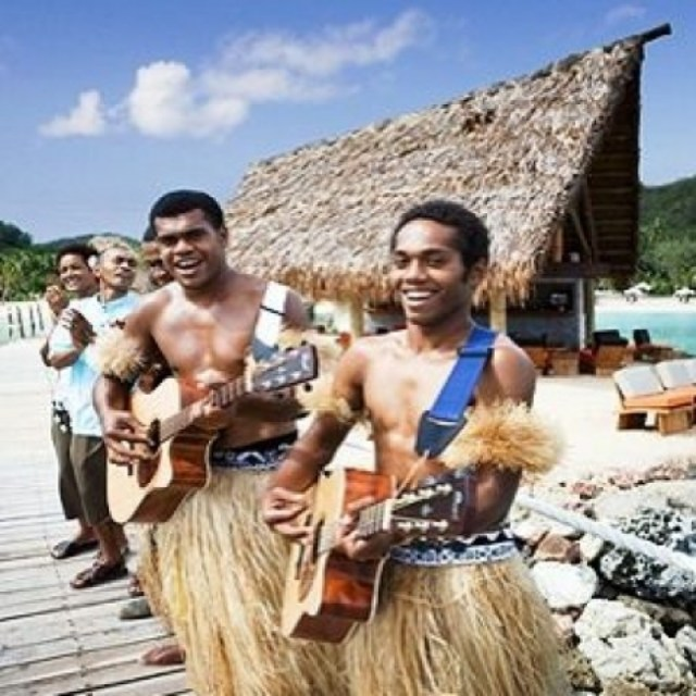 Guests are welcomed by traditional Fijian singing and music