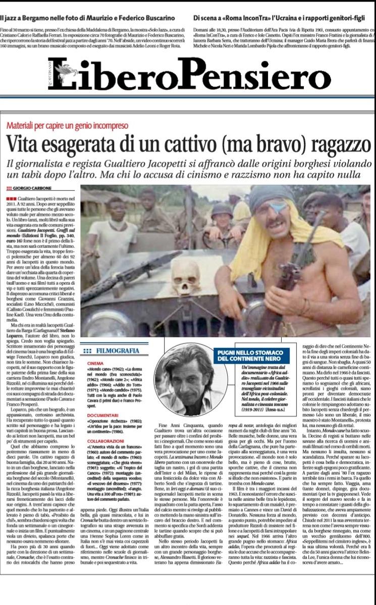 Libero Quotidiano dedica un'intera pagina a 'Gualtiero Jacopetti - Graffi sul mondo'