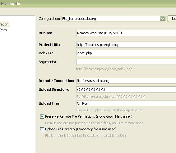 Scorciatoia per caricamento via ftp immediato con Netbeans