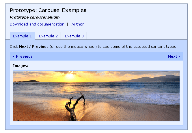 Implementing a simple carousel with cakephp and prototype
