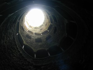 Down inside one of the wells looking up