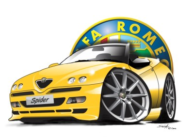 alfa spider 916 yellow, cartoon car art, cartoon car drawings,