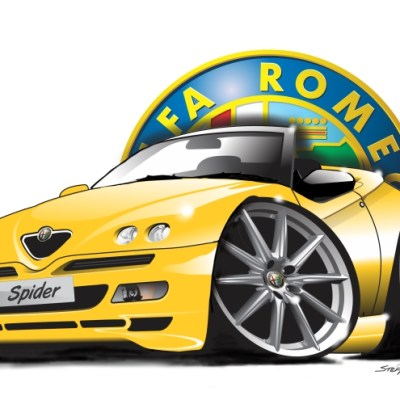 alfa spider 916 yellow, cartoon car art, cartoon car drawings,
