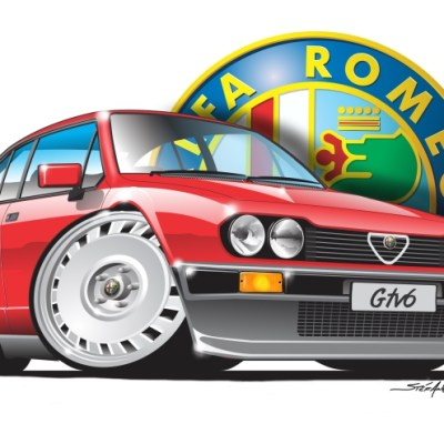 Alfa GTV6 Red, cartoon car art, cartoon car drawings,