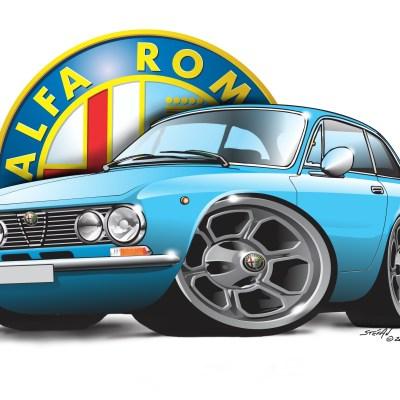 Alfa Gtv2000 blue, cartoon car art, cartoon car drawings,