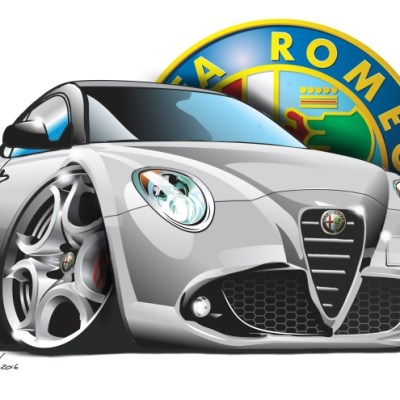 Alfa Mito Silver, cartoon car art, cartoon car drawings, cartoon cars,